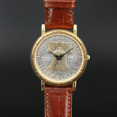 1951 Ben Franklin Half Dollar Coin Quartz Wristwatch