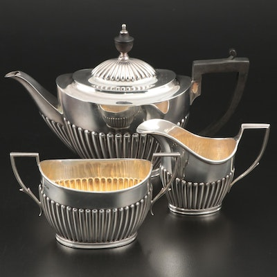 English Queen Anne Style Sterling Silver Tea Set, Late 19th/Early 20th Century
