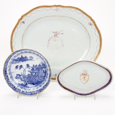 Chinese Export Armorial Porcelain and English Canton Bowl, 18th Century