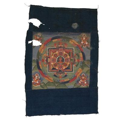 "Tibetan Buddhist Thangka of the ""Four Directions"" Mandala, Early 20th Century"