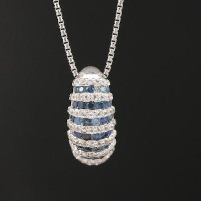 Sterling Sapphire Shrimp Pendant Necklace