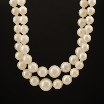 Graduated Pearl Double Strand Necklace with 14K Clasp