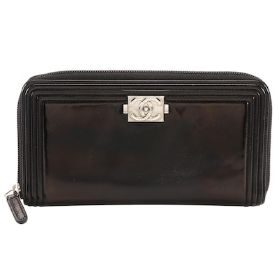Chanel Boy Zip-Around Wallet in Black Patent Leather