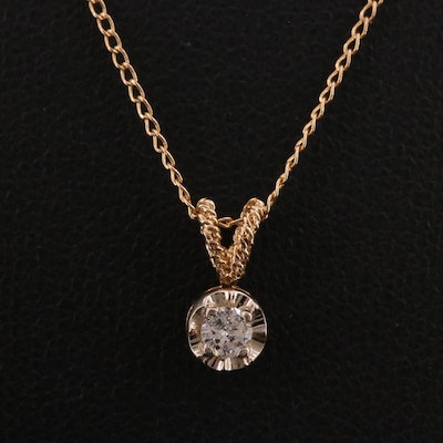 14K 0.12 CT Diamond Solitaire Necklace