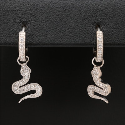 14K Diamond Snake Dangle Earrings