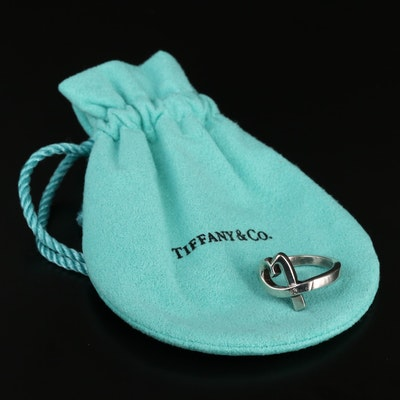 "Paloma Picasso for Tiffany & Co. ""Loving Heart"" Sterling Diamond Ring"