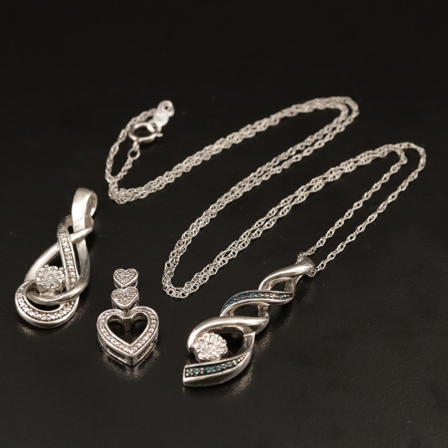 Sterling Silver Diamond Pendants with Rope Chain Necklace