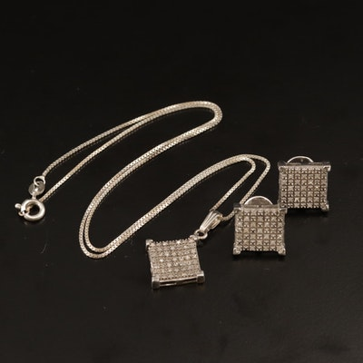 Sterling Diamond Earrings and Pendant Necklace Set with Geometric Design