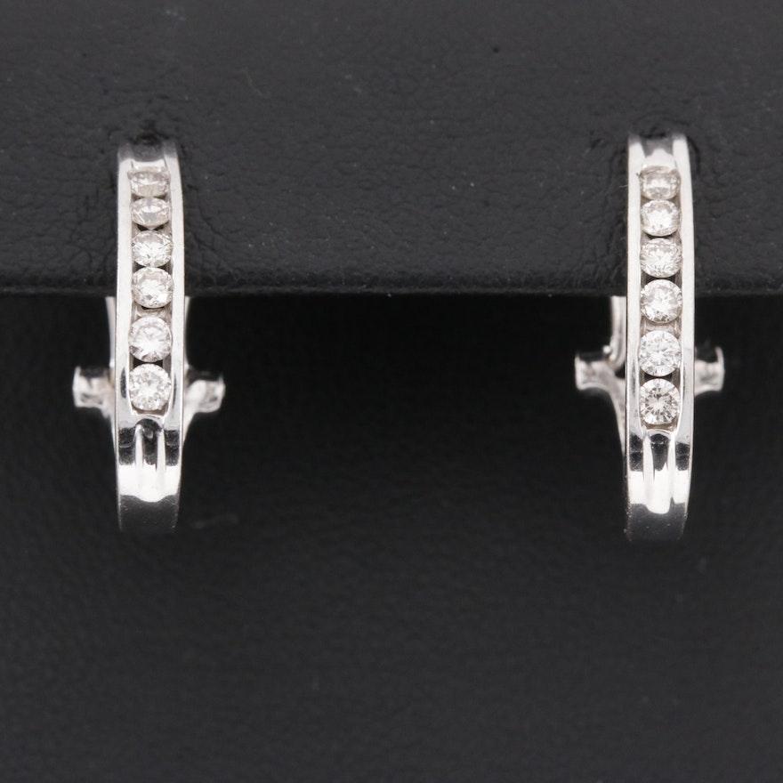 14K Gold Diamond J-Hoop Earrings