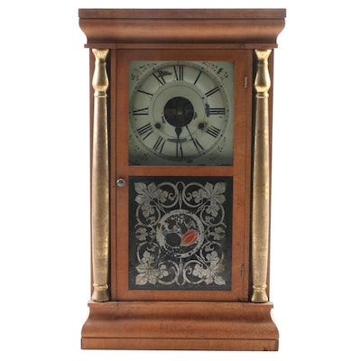 Seth Thomas Column & Cornice Wooden Mantel Clock with Stenciled Door