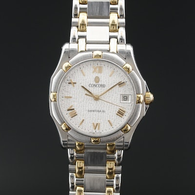 Concord Saratoga SL Mosaic Dial 18K and Stainless Steel Quartz Wristwatch