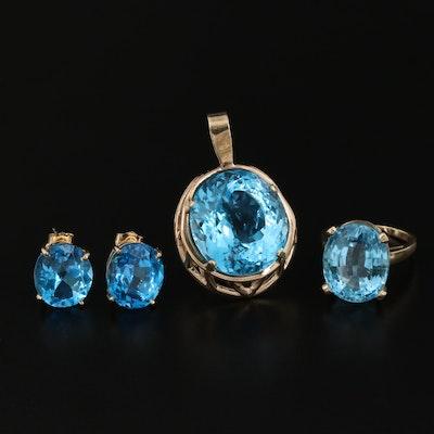 14K Blue Topaz Ring, Pendant and Earring Set