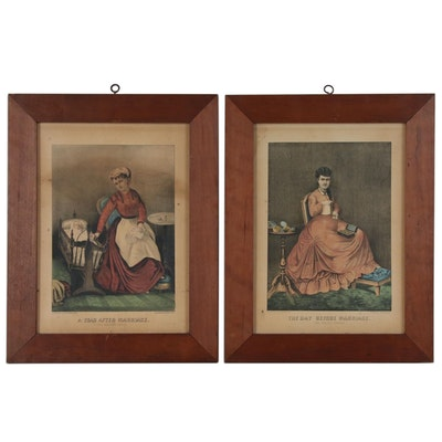 "Currier & Ives Hand Colored Lithographs ""The Day Before"" and ""A Year After"""
