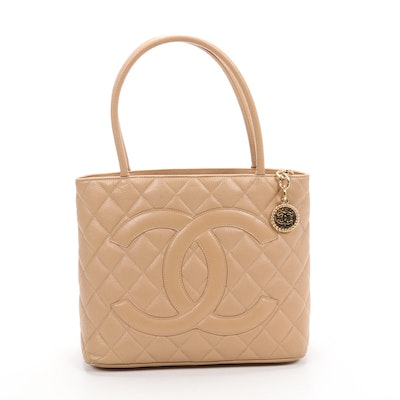 Chanel CC Medallion Tote Bag in Quilted Light Tan Caviar Leather