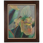 Pitcher Plant Oil Painting, Late 20th Century