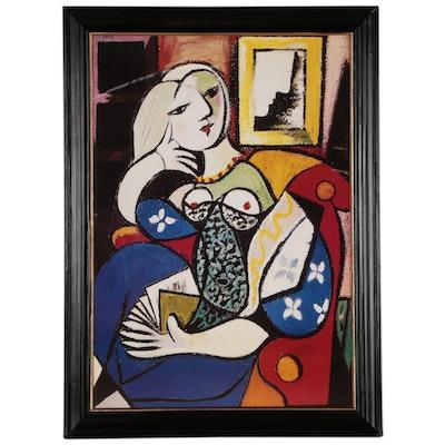 """Offset Lithograph after Pablo Picasso """"Femme avec un Livre"""", Late 20th Century"""