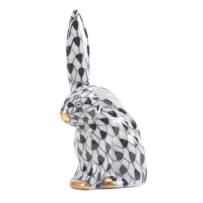 "Herend Black Fishnet ""Miniature Rabbit with One Ear Up"" Porcelain Figurine, 1995"