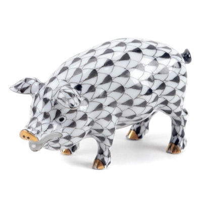 """Herend Black Fishnet with Gold """"Pig"""" Porcelain Figurine"""