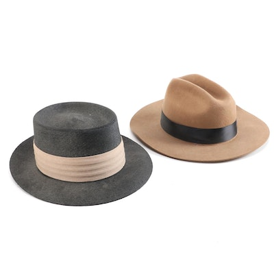 Brixton Wool Felt Western and Lee Woven Milan Porkpie Hats, Vintage