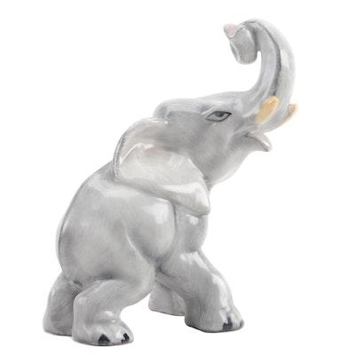 """Herend """"Trunk Up"""" Porcelain Natural Elephant Figurine"""