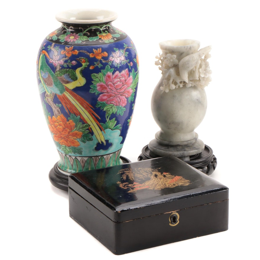 Chinese Soapstone Vase and Other Decorative Objects, Mid-20th Century