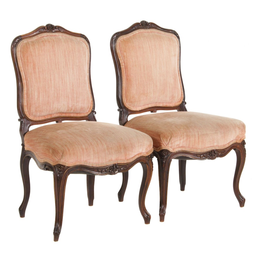 Pair of French Provincial Style Carved Walnut Chairs, Mid to Late 20th Century