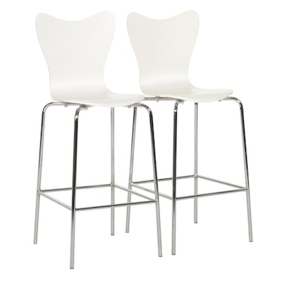 Pair of West Elm Mid Century Modern Style Plywood and Metal Barstools
