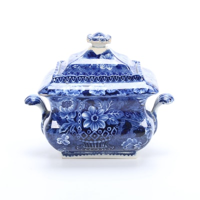 "Historical Staffordshire ""Basket of Flowers"" Pearlware Sugar Bowl, 1820-1832"