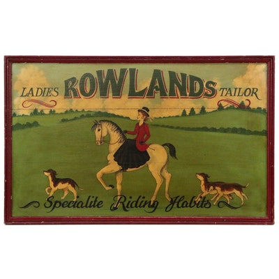 "Oil Painting Advertisement ""Rowland's Ladies Tailoring"", Early 20th Century"
