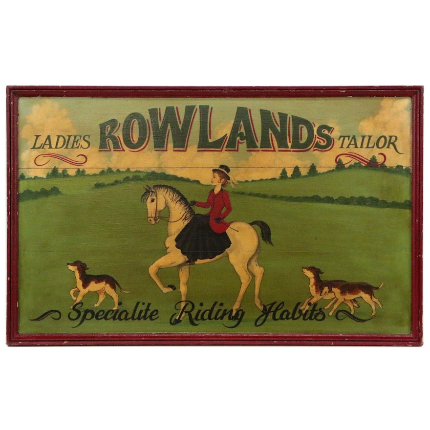 """Oil Painting Advertisement """"Rowland's Ladies Tailoring"""", Early 20th Century"""