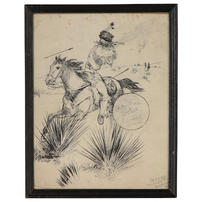 "Pen and Ink Drawing ""California Overland Route Horseman Unit"", 20th Century"