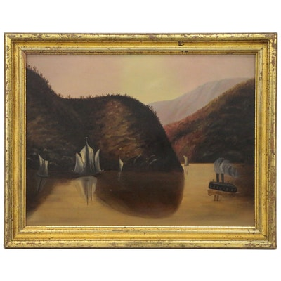 Dusk Landscape Oil Painting, Mid 20th Century