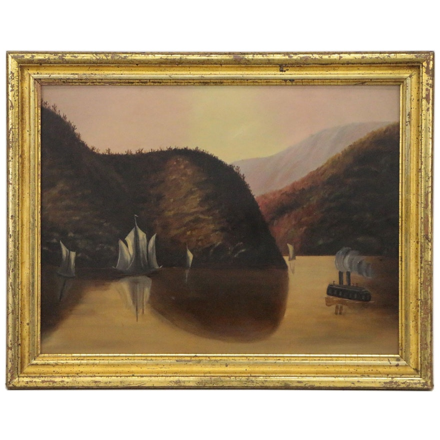 Dusk Landscape Oil Painting, Mid 20th Century