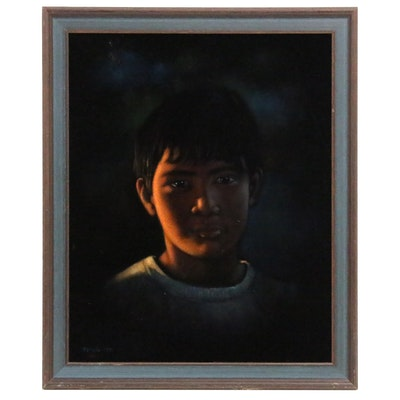 """Stephen Sands Velvet Painting """"Maui Boy"""", 1971"""