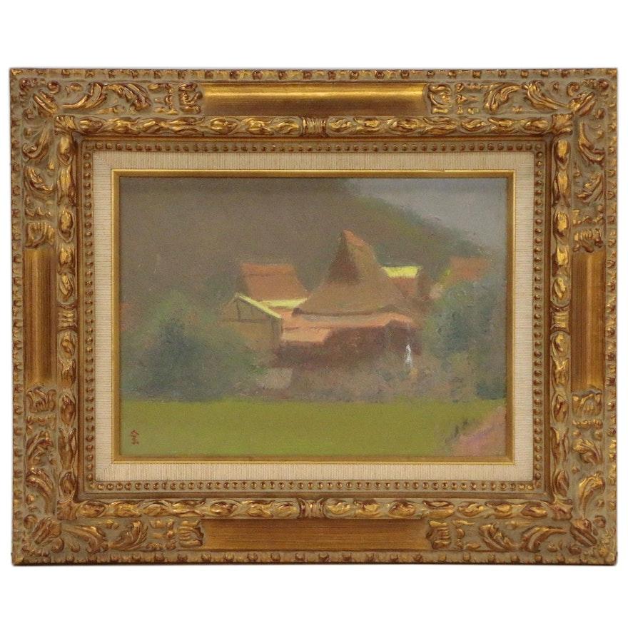 Village Landscape Oil Painting, Mid 20th Century