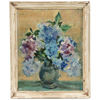 Impressionist Style Still Life with Lilacs Oil Painting, Mid 20th Century