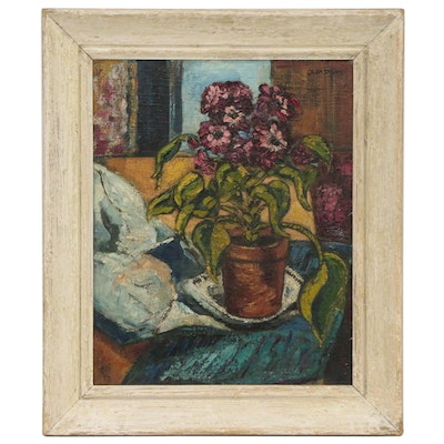 Floral Still Life Impasto Oil Painting, Early 20th century