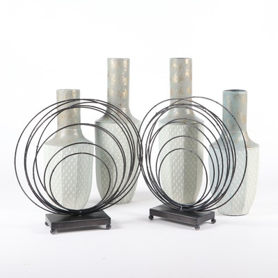 Metal Circular Sculptures and Teal Metal Vases, Contemporary