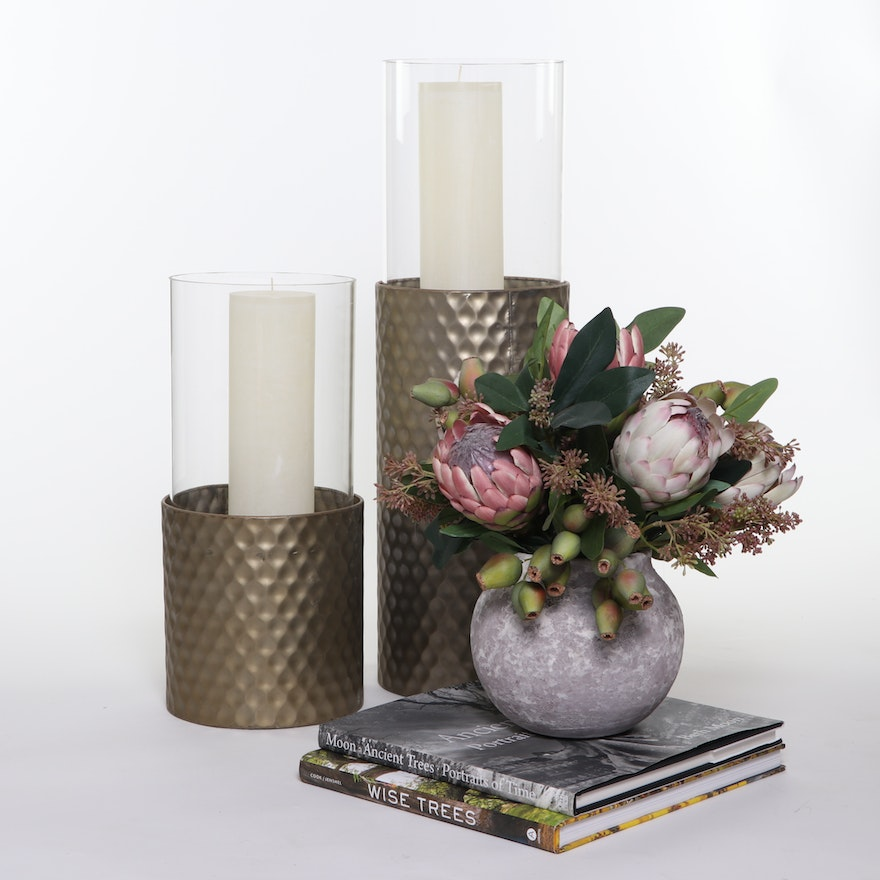 Hammered Metal Candle Holders and Other Decorative Accessories, Contemporary