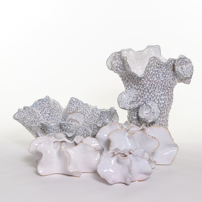Abstract Ceramic Coral Shaped Vases and Bowl, Contemporary