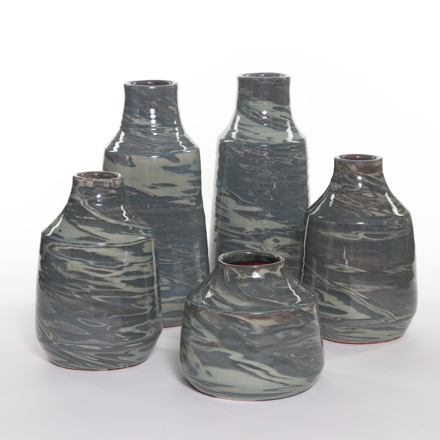 Marble Glazed Blue and Grey Ceramic Graduated Vases, Contemporary