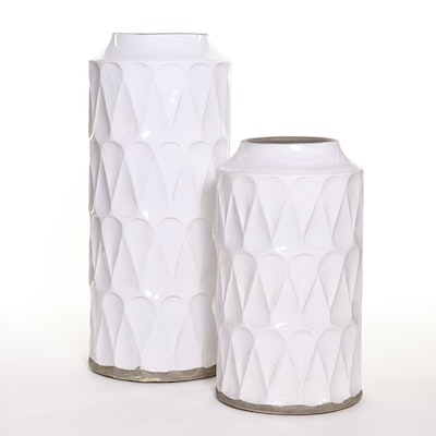 Crate & Barrel White Glazed Ceramic Geometric-Patterned Vases