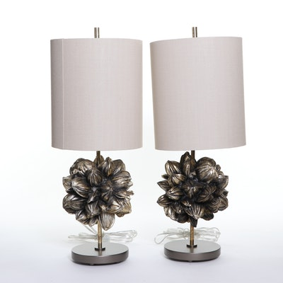 Modern Cocoa Pod Themed Table Lamps in Metallic Gold, 21st C