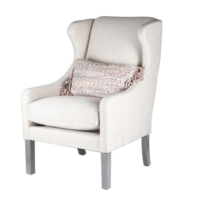 Robin Bruce Upholstered Wingback Armchair with Decorative Pillow, Contemporary