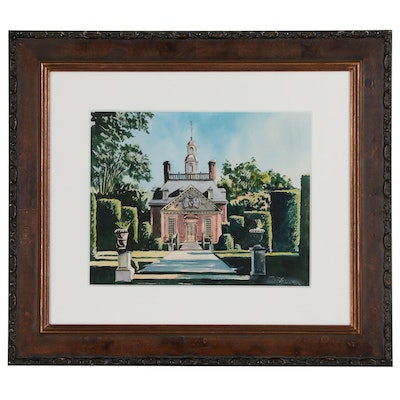 Watercolor Painting of Governor's Palace in Williamsburg, Virginia, 21st Century
