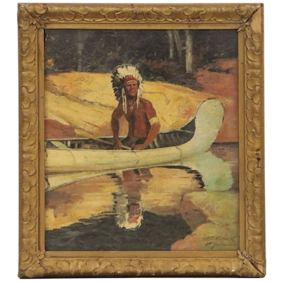 """Oil Painting after Robert Wesley Amick """"The Indian Scout"""", Mid-20th Century"""