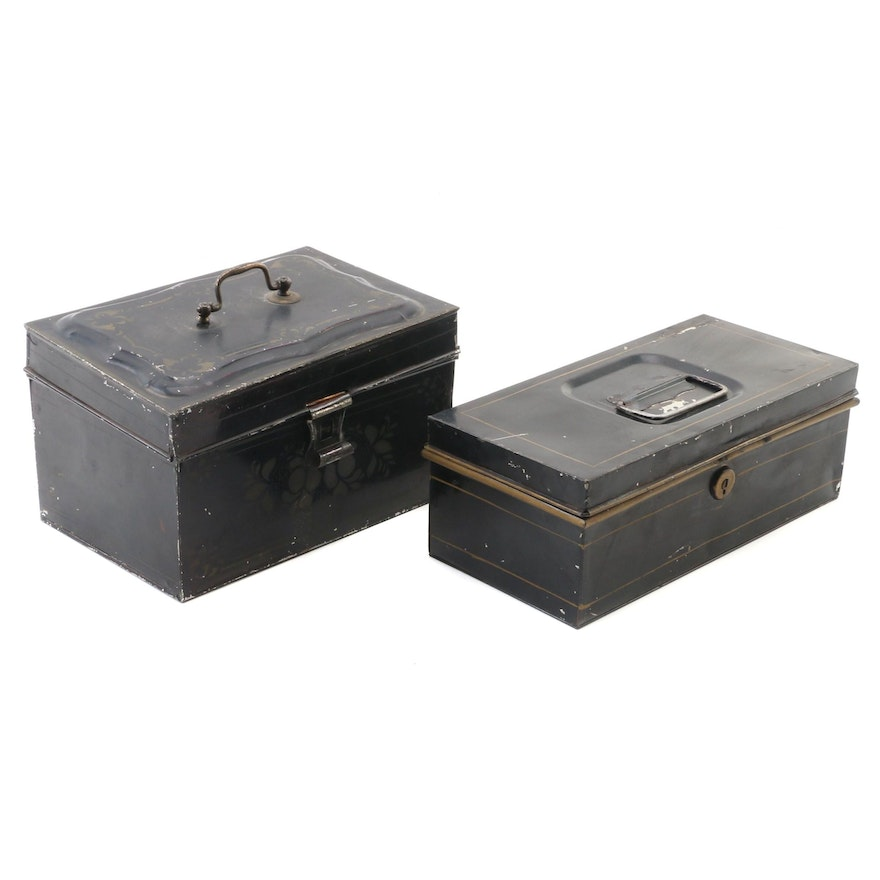 Gold and Black Tin Storage Boxes, Early to Mid 20th Century