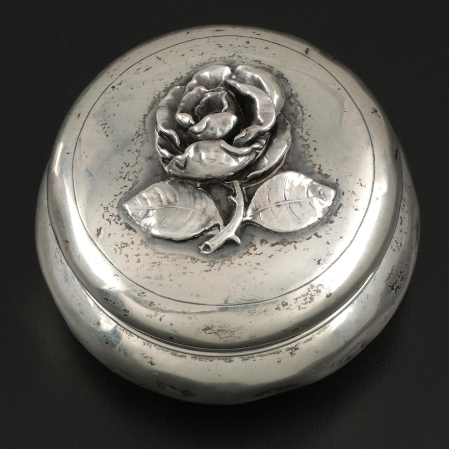 900 Silver Pill Box with Fine Silver Rose Lid, Late 19th to Early 20th Century
