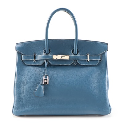 Hermès Birkin 35 Satchel in Bleu Thalassa Clemence with Palladium Hardware
