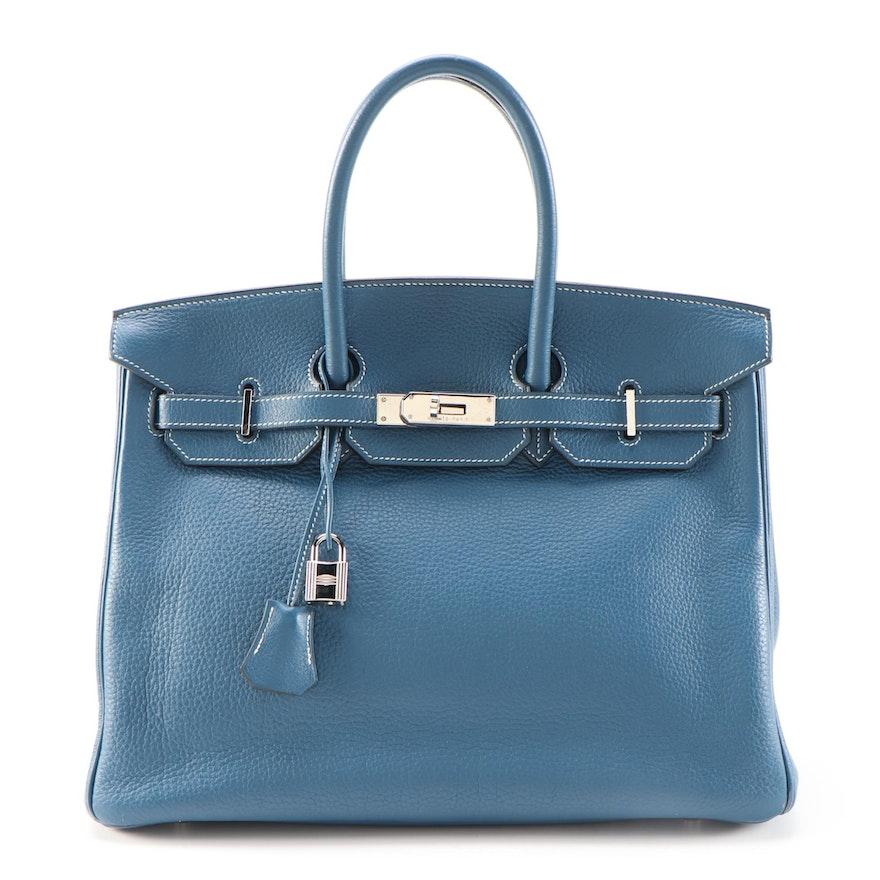 Hermès Birkin 35 Satchel in Bleu Thalassa Clemence with Palladium Hardware